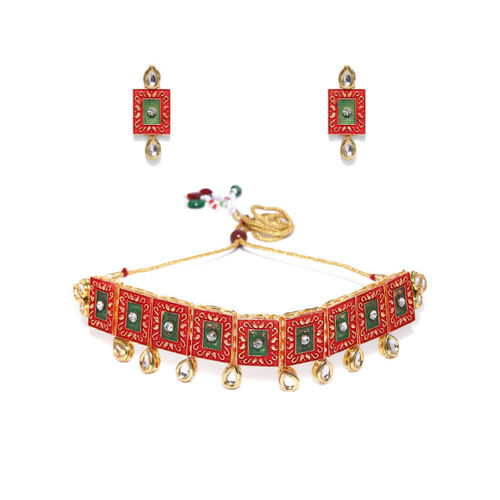 Zaveri Pearls Red & Green Gold-Plated Kundan Studded Enamelled Jewellery Set