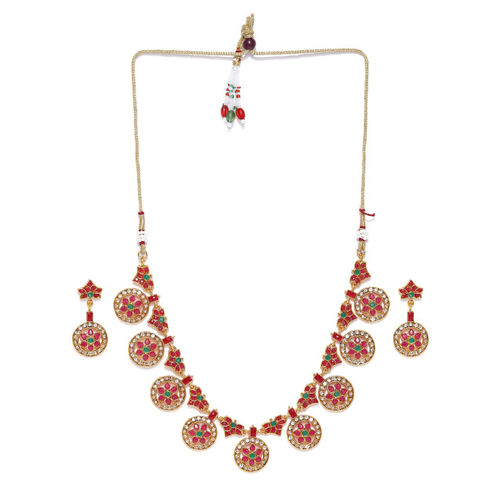 Zaveri Pearls Red & Green Gold-Plated Jewellery Set