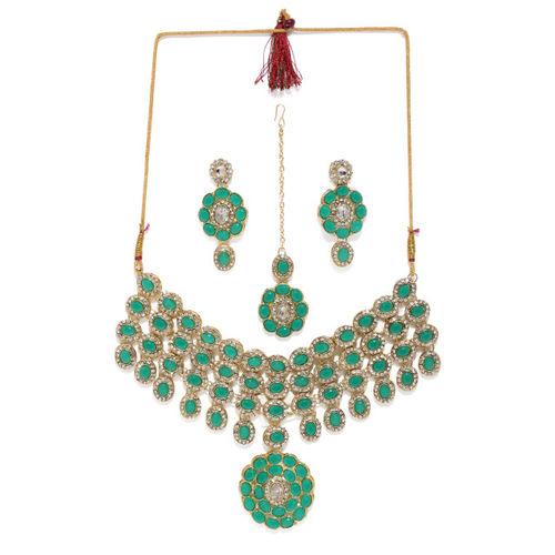 Zaveri Pearls Green Gold-Plated Austrian Diamonds And Stones Studded Jewellery Set