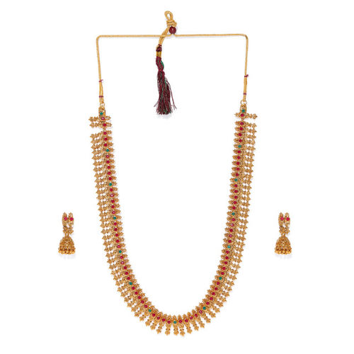 Zaveri Pearls Gold Plated Traditional Jewellery Set