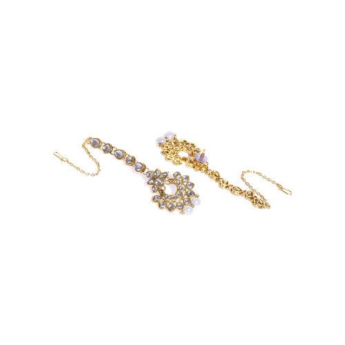 Zaveri Pearls Gold-Toned Kundan Bridal Choker Jewellery Set