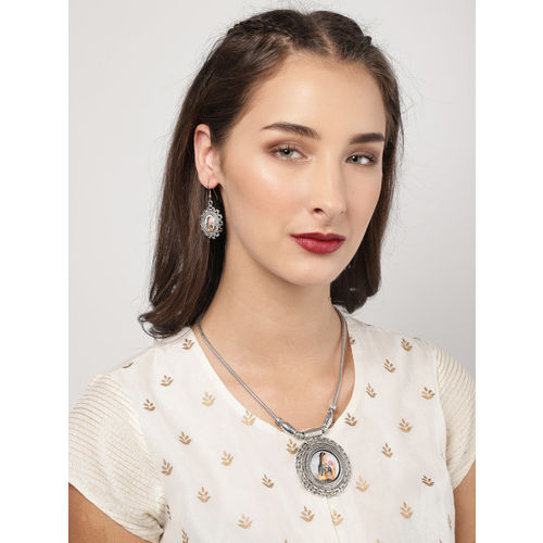 Zaveri Pearls Silver Toned Padmavati Inspired Jewellery Set