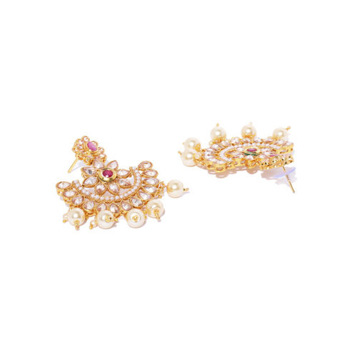 Zaveri Pearls Off-White & Pink Gold-Plated Stone-Studded & Beaded Jewellery Set