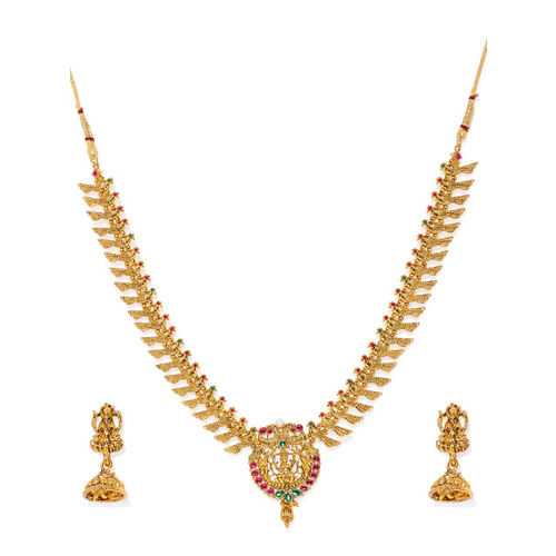 Zaveri Pearls Antique Gold-Plated Temple Necklace Set