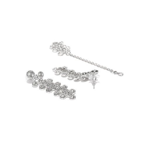 Zaveri Pearls Silver Austrian Diamond-Studded Jewellery Set