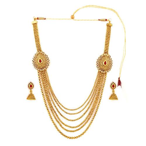 Zaveri Pearls Gold-Toned Multistranded Jewellery Set