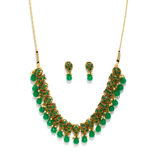 Zaveri Pearls Antique Gold-Toned & Green Beaded Jewellery Set