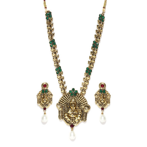 Zaveri Pearls Gold-Plated Temple Jewellery Set