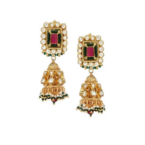 Rubans Women Gold-Toned & Pink Kundan & Pearl Handcrafted Jewellery Set