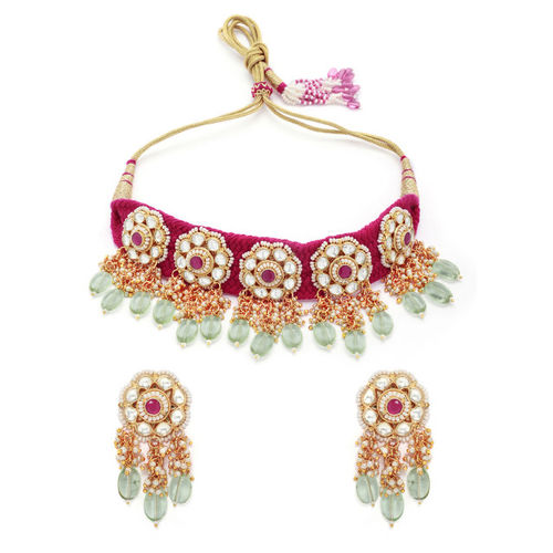 Rubans Women Gold-Toned & Pink Handcrafted Kundan & Pearl Embellished Jewellery Set