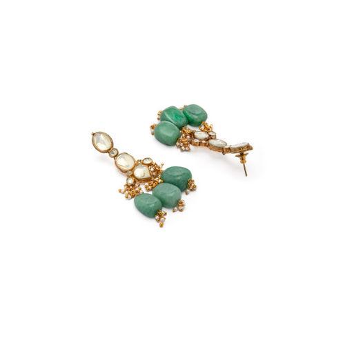 Rubans Women Gold-Toned & Green Kundan & Pearl Embellished Jewellery Set