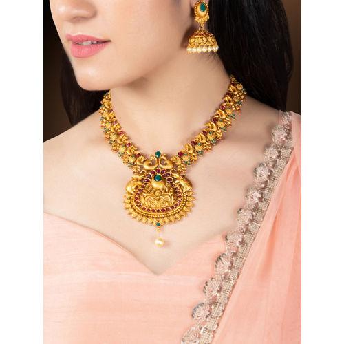 Rubans Women Gold-Plated & Red Ruby & Emerald Studded Jewellery Set