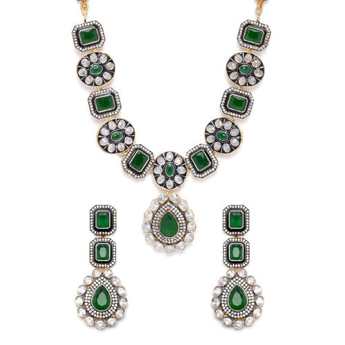 Rubans Gold Plated Vintage CZ Studded Faux Emerald Embellished Statement Necklace Set