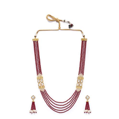 Rubans Gold-Plated & Red Kundan Studded Emerald Beaded Jewellery Set
