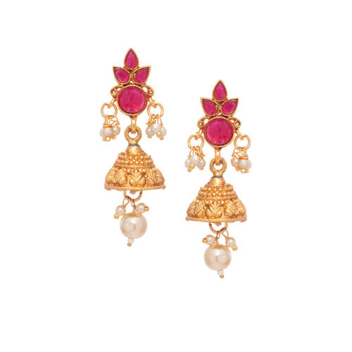 Rubans Women Gold-Toned & Pink Ruby & Pearl Embellished Jewellery Set