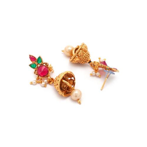 Rubans Women Gold-Toned & Red Stone-Studded Jewellery Set