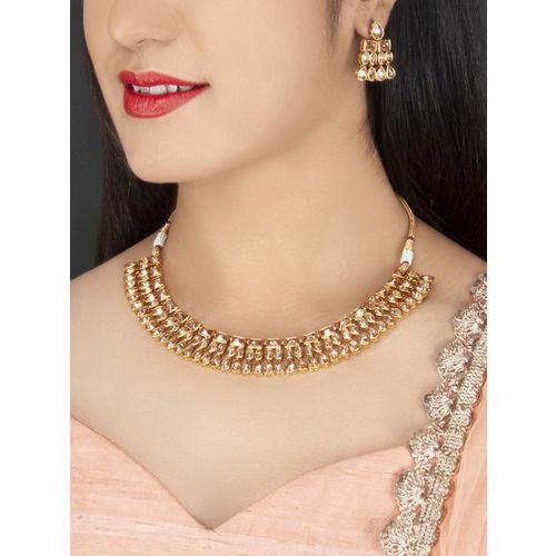 Rubans Gold-Plated Handcrafted Kundan Jewellery Set
