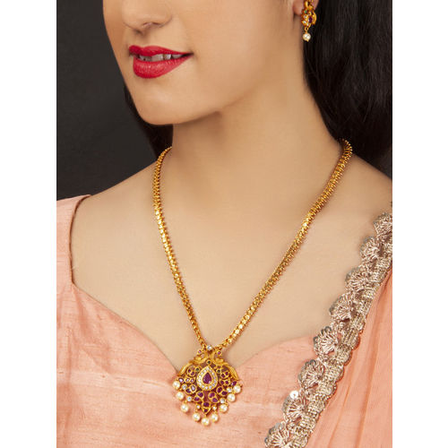 Rubans Gold-Plated & Pink Metal Antique Jewellery Set