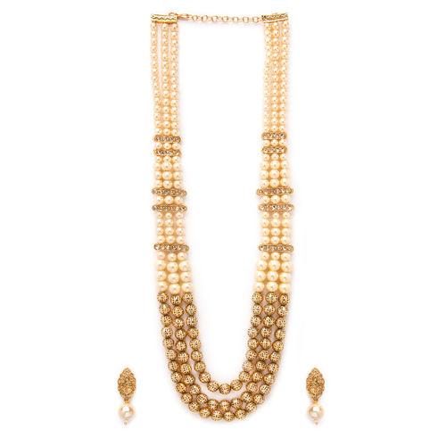 Rubans Women Gold-Plated & White Pearl Studded Jewellery Set
