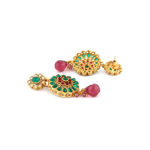 Rubans Gold-Plated Red & Green Faux Ruby & Emerald Jewellery Set