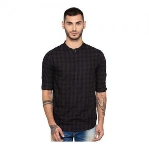 Spykar Black Slim Fit Checks Shirt