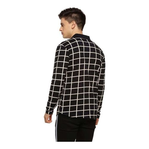 Campus Sutra Black Regular Fit Chequered Shirt