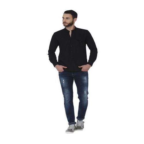 Mufti Black Band Collar Slim Fit Shirt