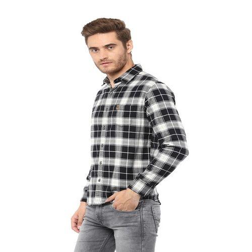 Mufti Black & Grey Slim Fit Checks Shirt