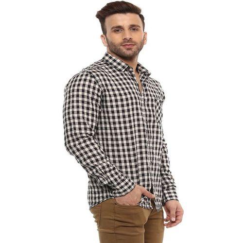 Mufti White & Black Checks Slim Fit Shirt