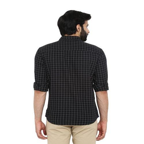 Park Avenue Black Slim Fit Checks Shirt
