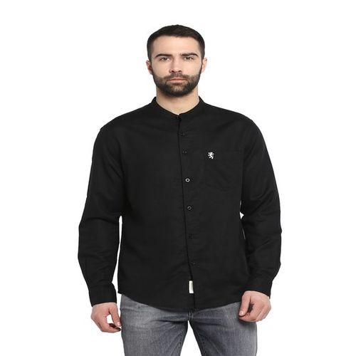 Red Tape Black Full Sleeves Band Collar Shirt