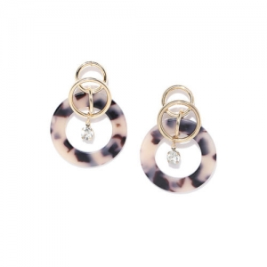 DressBerry Gold-Toned & Brown Printed Stone-Studded Circular Drop Earrings
