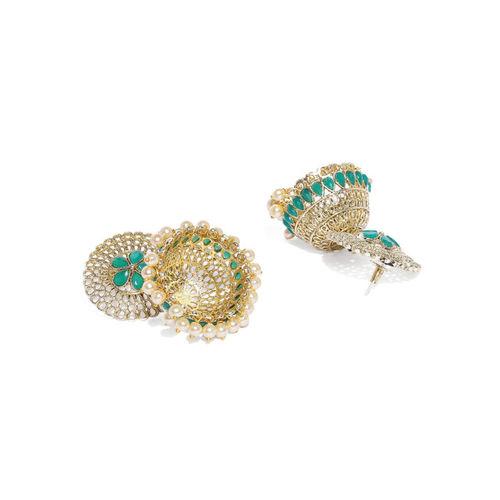 Zaveri Pearls Gold-Toned & Green Dome Shaped Jhumkas