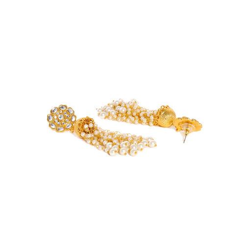 Zaveri Pearls Gold-Toned Kundan Studded Dome Shaped Jhumkas