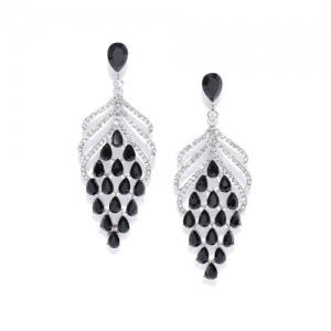 DressBerry Black & Silver-Toned Stone Studded Contemporary Drop Earrings