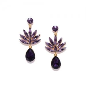 DressBerry Purple & Gold-Toned Stone-Studded Teardrop Shaped Drop Earrings