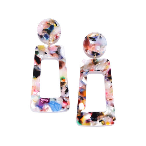 DressBerry Multicoloured Printed Geometric Drop Earrings