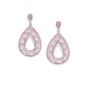 DressBerry Pink Stone Studded Teardrop Shaped Drop Earrings