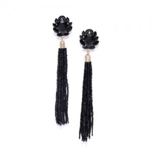 DressBerry Black Tasselled Stone-Studded Beaded Contemporary Drop Earrings
