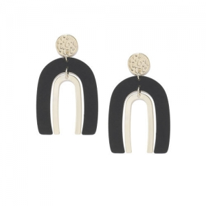DressBerry Black & Gold-Toned Contemporary Drop Earrings