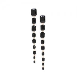 DressBerry Black & Gold-Toned Geometric Stone-Studded Drop Earrings