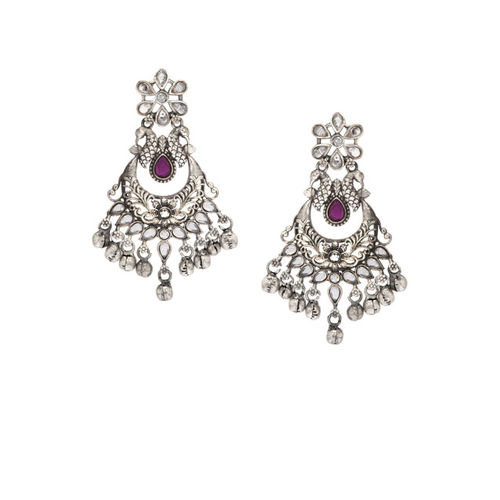 Rubans Oxidised Silver-Toned Handcrafted Crescent Shaped Chandbalis