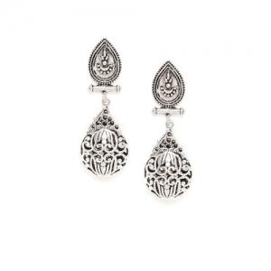 ZeroKaata Silver-Toned Handcrafted Oxidized Teardrop Shaped Drop Earrings