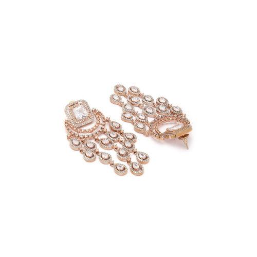 Rubans Rose Gold & White Handcrafted Teardrop Shaped Drop Earrings