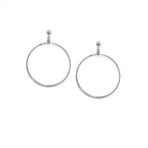 ToniQ Silver-Toned Circular Drop Earrings