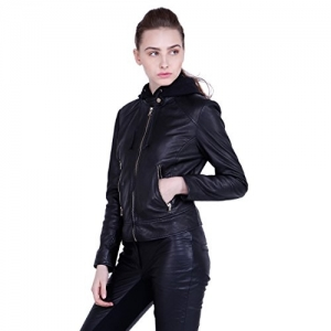JUSTANNED Women's Hooded Leather Jacket