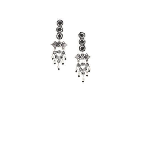 Voylla Silver-Plated & Black Classic Oxidised Drop Earrings