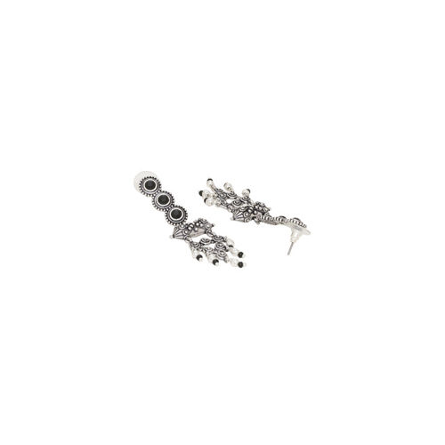 Voylla Silver-Plated & Black Classic Oxidised Drop Earrings