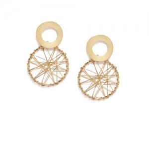 ToniQ Gold-Toned Circular Drop Earrings
