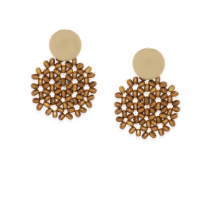 ToniQ Gold-Toned & Brown Floral Drop Earrings